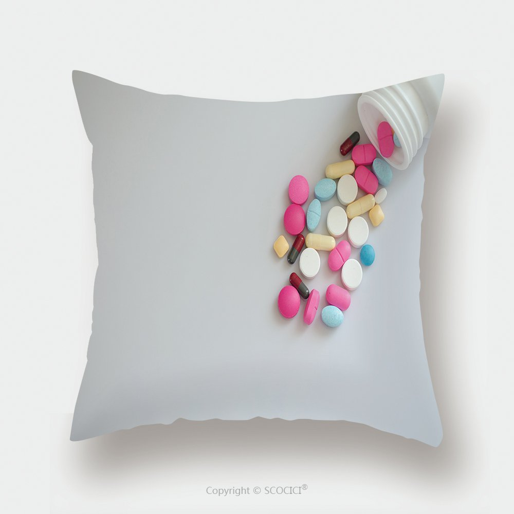 Custom Satin Pillowcase Protector Pharmacy Background On A Wood Table Pills Medicine And Healthy Close Up Of Capsules Different 415750693 Pillow Case Covers Decorative by chaoran