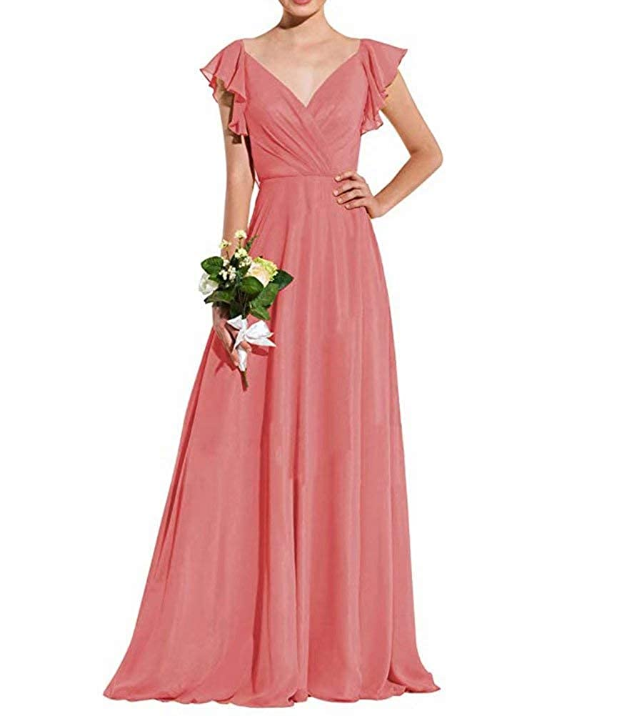 Gralre Womens V Neck Bridesmaid Dresses Long A Line Formal Dress with Sleeves