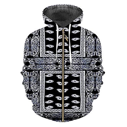 UkEdNs 3D Print Black Bandana Hoodies Sweatshirt Male Long Sleeve Zipper Hoody Cashew Flower Printing Jackets Bandana Paisley XXXL ()