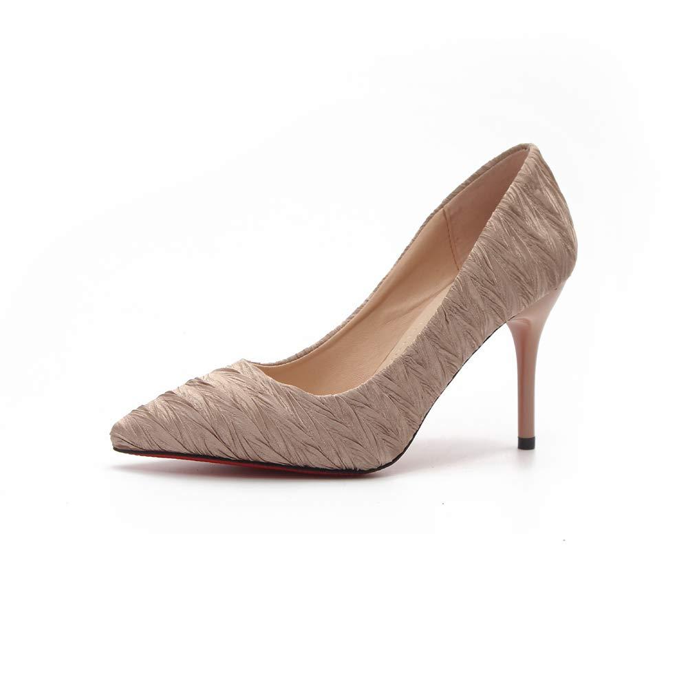Jqdyl Frauen Satin Single Schuhe Stiletto Spitz Mode High Heels Flacher Mund Arbeit Schuhe
