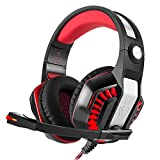 STOGA GM-2 Gaming Headphones, 3.5mm PS4 Gaming Headset Over-the-Ear Noise Isolating,Breathing LED Light with Mic for PC Gamers (Black & Red)