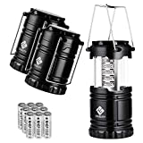 Etekcity Portable LED Camping Lantern and Flashlight with AA Batteries, Survival Light for Camping, Hiking, Reading, Hurricane, Power Outage (Black, Collapsible) (3 Pack CL10)