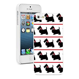 Apple iPhone 5c White 5CW505 Hard Back Case Cover Color Black Scottie Dogs with Red Bows Background