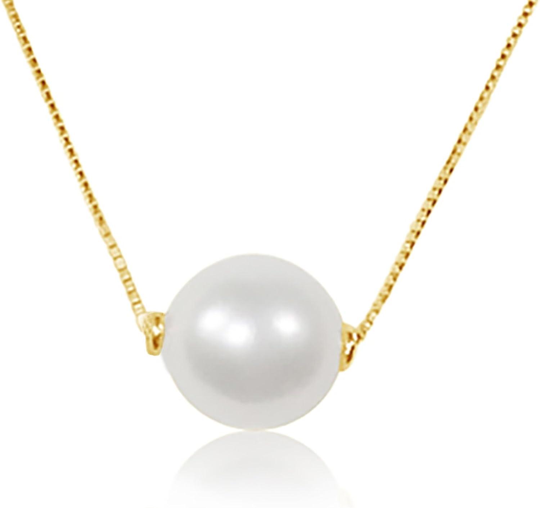 MILLE AMORI ∞ Collar para mujer con colgante de oro y diamante ∞ Oro amarillo de 9 quilates 375 perla 8.0 mm ∞ Cadena veneciana 42 cm