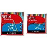 Berol Colour Fine Pen 0.6mm Nib - Assorted Colours (Pack of 12) and Berol Colour Broad Pens 1.7mm nib - assorted colours (wallet pack of 12 pens)