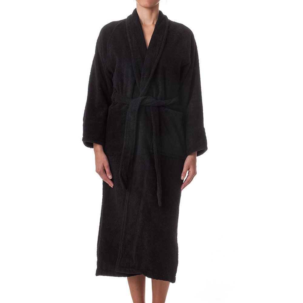 eLuxurySupply Unisex Terry Cloth Robe - 100% Long Staple Cotton Hotel/Spa, Small, Black ROBE MD TP