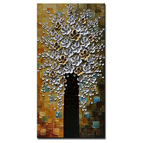 Okbonn-Hand Painted Wall Art Vertical Blossom Plum Tree Pictures Texture White and Gold Flower Oil Painting on Canvas Modern Home Decor Stretched and Framed Artwork for Living Room Bedroom(24X48 inch)