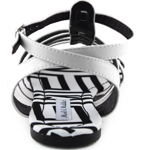 Kvinna Gladiator Avslappnad Flats Sandaler Ankel Spänne Zebra Vadderad Sommar Strand Mode Skor Vit Pu