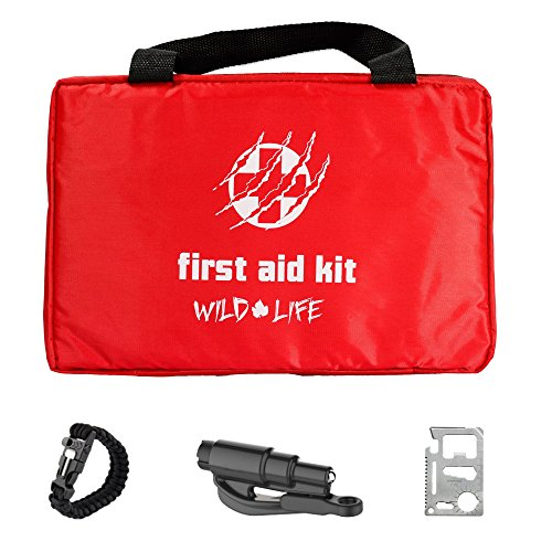 4-in-1 Car First Aid Kit with Emergency Vehicle Tool plus BONUS Paracord Whistle Fire Starter Bracelet and Compact Multi Tool