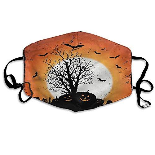 Vintage Halloween Dust Mouth Mask Bats Pumpkins for Men and Women W4