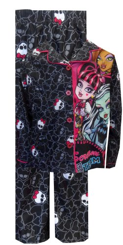 Monster High Scream Team Button Front Pajama for Little Girls (6/6X)