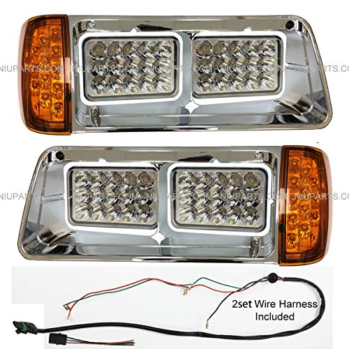 LED Headlight with Amber LED Turn Signal Light and Chrome Bezel - Driver and Passenger Side (FIt: 1993-2007 Freightliner FLD)