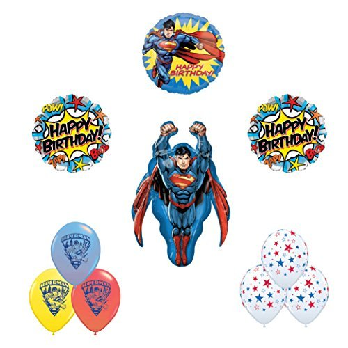 (Superman 10pc Happy birthday party balloon supplies and)