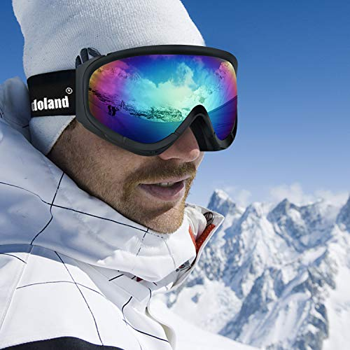 8f4fa6a768a4 Odoland Snow Ski Goggles S2 Double Lens Anti-Fog Windproof UV400 Eyewear  for Adult and