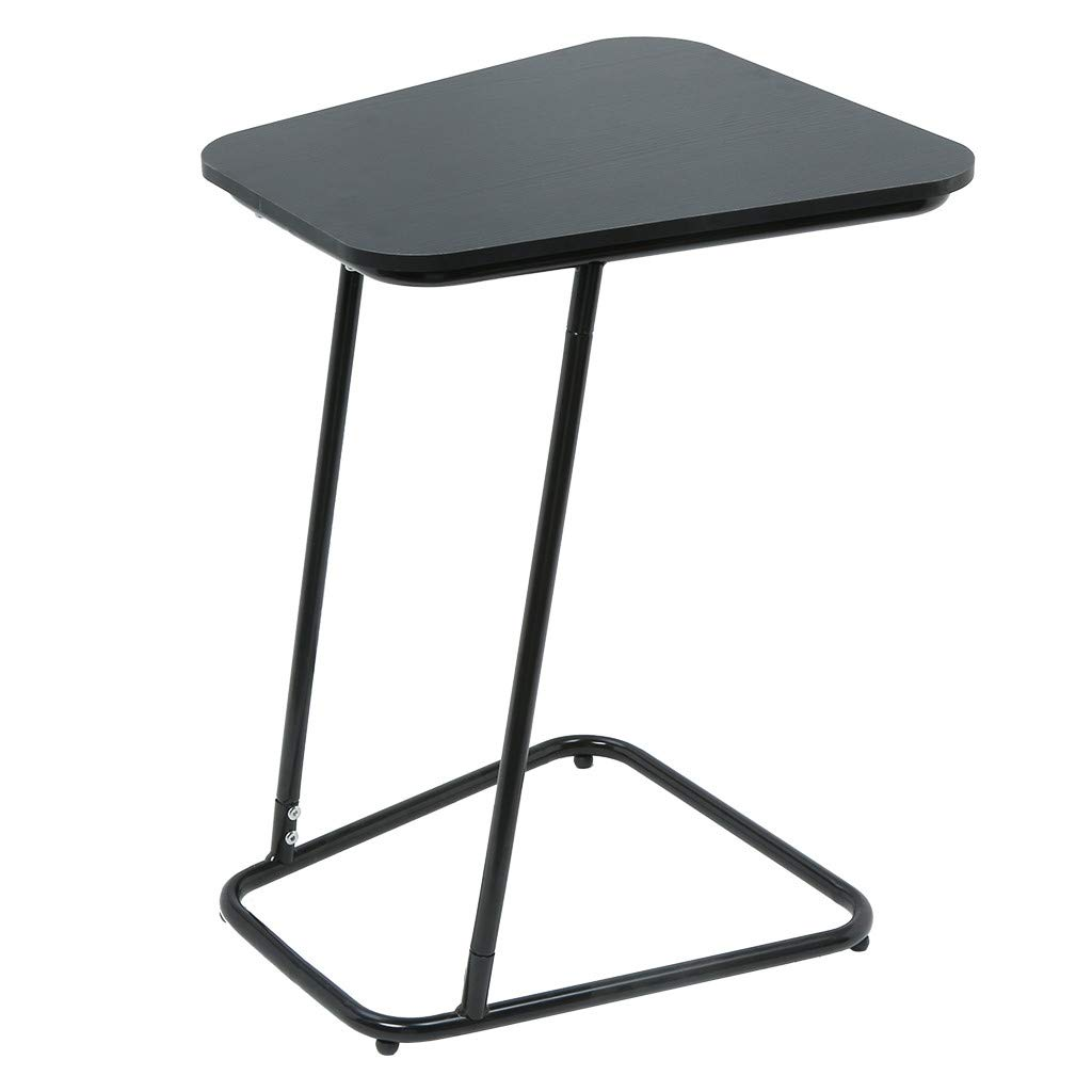 Chenway C-Shaped Snack Table Bedside Table Computer Table Laptop Tray Small Stool Mini Table for Bedroom [Ship from USA Directly] (Black)