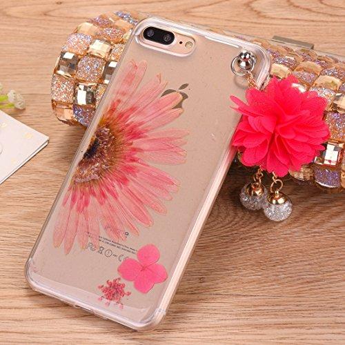 MXNET Iphone 7 Plus Fall, Epoxy Dripping gepresste reale getrocknete Blume weiche transparente TPU Schutzhülle mit Pfirsich Anhänger CASE FÜR IPHONE 7 PLUS ( SKU : Ip7p0995d )