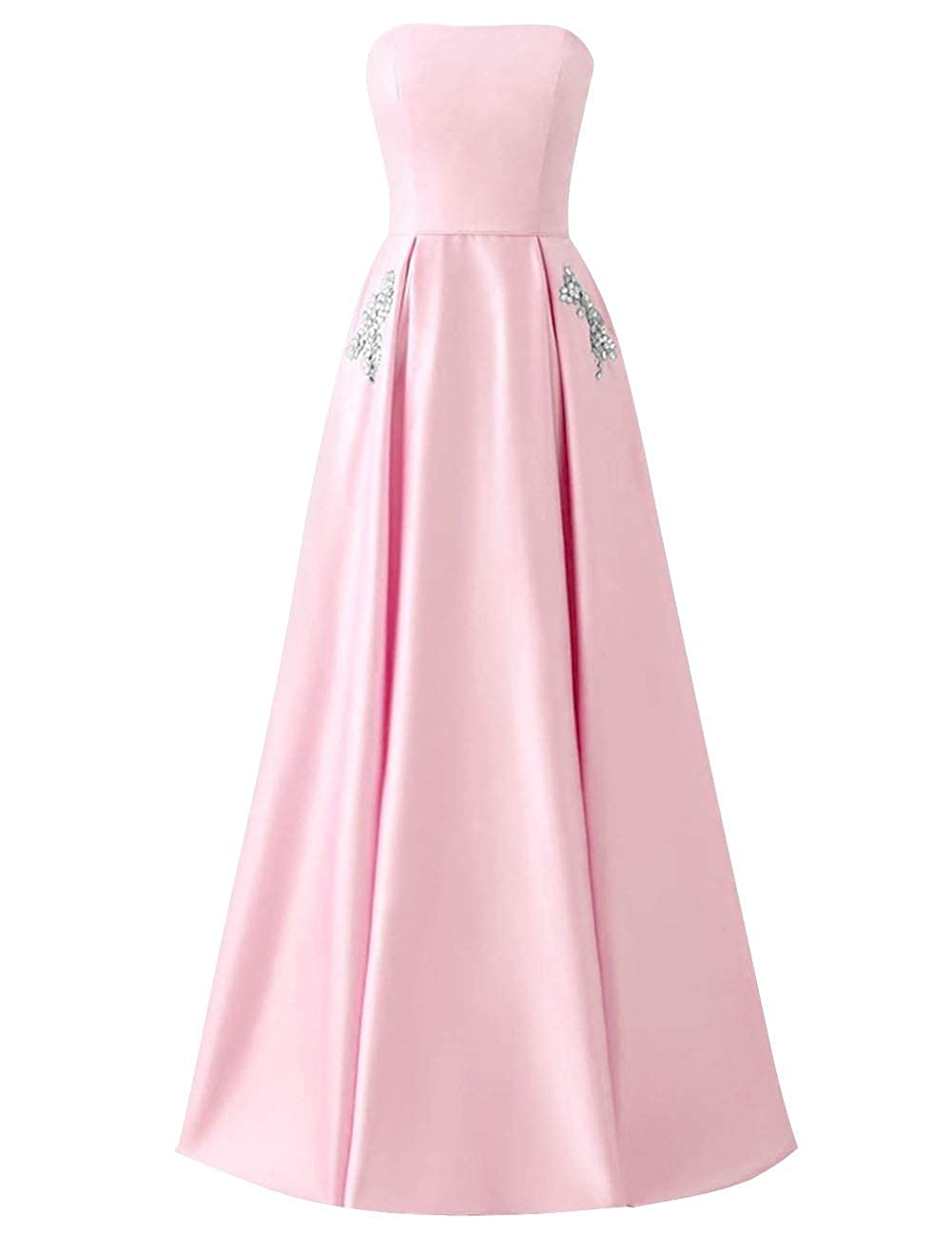 bluesh Pink MorySong Women Strapless Beading Pocket Prom Dress Satin Long Evening Party Gown