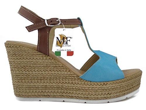 OSVALDO PERICOLI Mercante di Fiori, Sandalo Bicolore Azzurro/Marrone,CB113801 e17