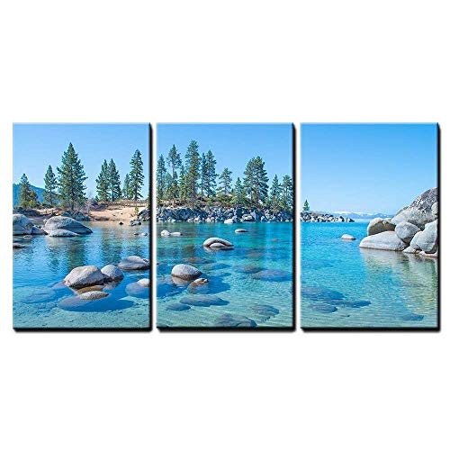 - wall26 - 3 Piece Canvas Wall Art - Beautiful Blue Clear Water on The Shore of The Lake Tahoe - Modern Home Decor Stretched and Framed Ready to Hang - 16