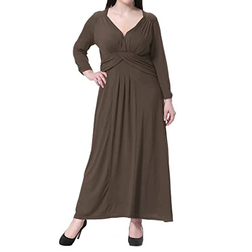 Riveroy Women's Plus Size Formal V-Neck 3/4 Sleeve Mother of the Bride Dress