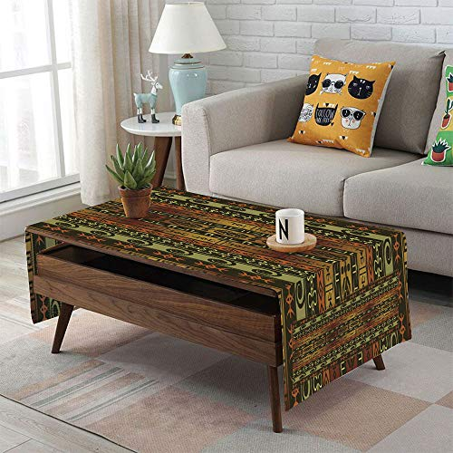 iPrint Linen Blend Tablecloth,Side Pocket Design,Rectangular Coffee Table Pad,Zambia,Ethnic Ornamental Abstract Heritage Traditional Ceremony Ritual Image,Gold Dark Brown Orange,for Home Decor