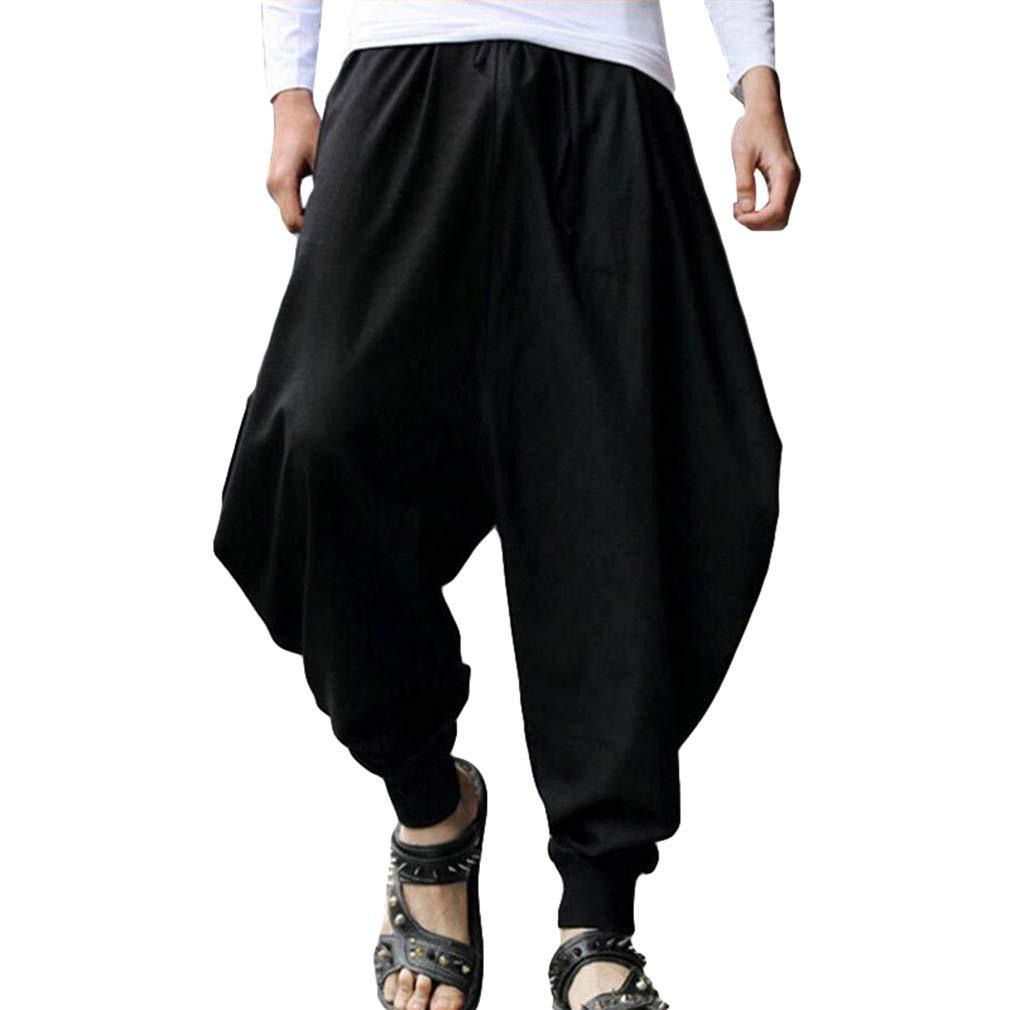 Meedot Herren Freizeit Baggy Yogahose Haremshose Mode Hippie Hose Elastisch Pluderhose Pumphose 8 Farben S-2XL