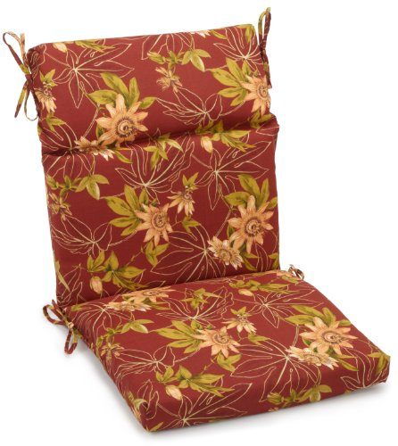 Blazing Needles Indoor/Outdoor Spun Poly 22-Inch by 45-Inch by 3-1/2-Inch 3-Section Chair Cushion, Passion Ruby (Passion Ruby Cushions)