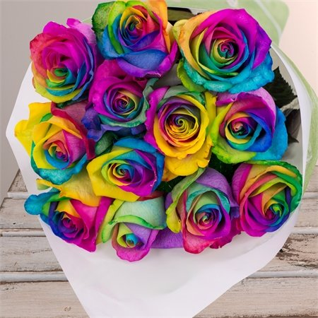 Farm Direct Rose Tinted Bouquet of 12 Fresh Cut Roses with Vase (Rainbow)