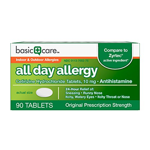 Basic Care All Day Allergy Cetirizine Hcl Tablets, 10 mg, 90 Count (Best Over The Counter Dog Allergy Medicine)