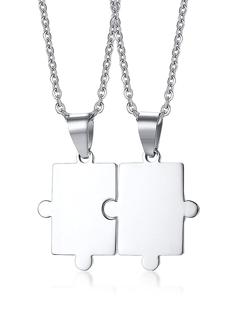 Personalized Customized Stainless Steel Matching Puzzle Piece Charm Friendship BFF Puzzle Necklace for 2, 3, 4 Black Mealguet MG2--CN--083B--KZ