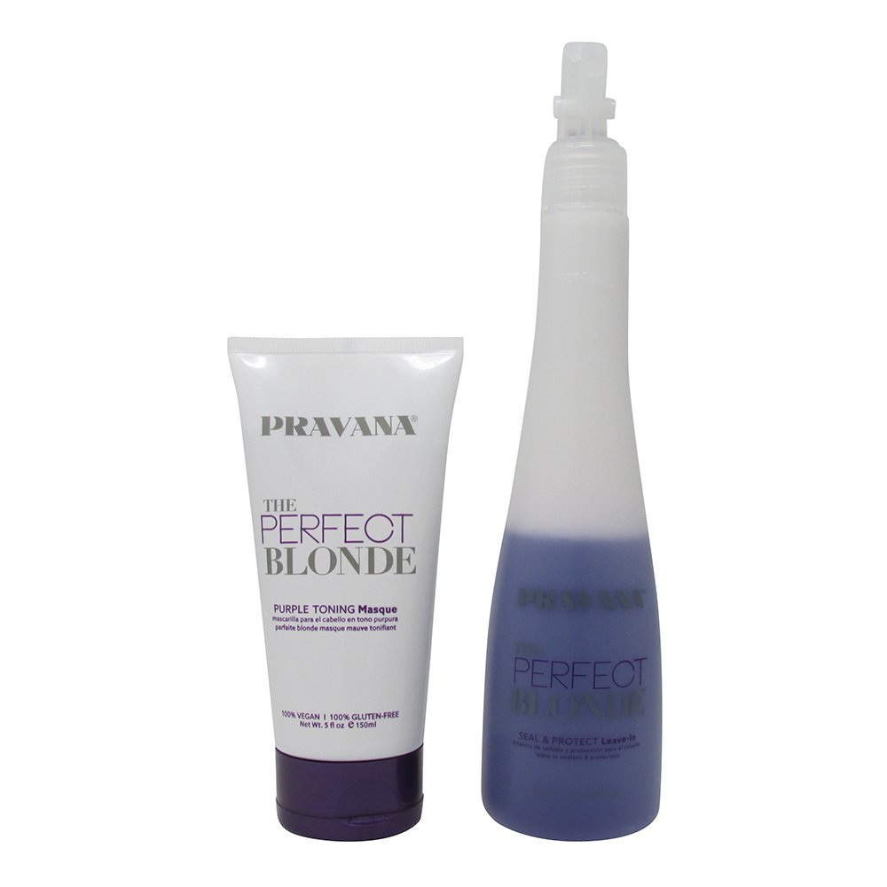 Bundle-2 Items : PRAVANA THE PERFECT BLONDE Purple Toning Masque, 5 Oz & PRAVANA THE PERFECT BLONDE Seal & Protect Leave-in, 10.1 Oz by Pravana (Image #1)