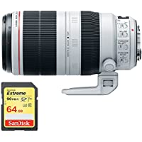 Canon EF 100-400mm f/4.5-5.6L IS II USM Lens (9524B002) with 64GB Extreme SD Memory UHS-I Card w/ 90/60MB/s Read/Write