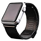 Apple Watch Band 42mm Black, Stainless Steel Milanese Loop Band Replacement Band (YESOO Retail Packaging 180 Days Warranty)