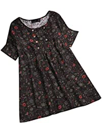 ee41dff821 Kaitobe Womens Three Quarter Sleeve Crew Neck Tops Loose Floral Plus Size  Tunic T-Shirts