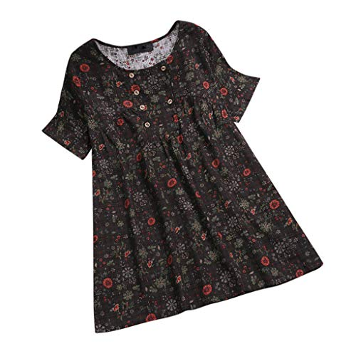 - JMETRIE Womens Floral Printed O-Neck Short Sleeve Casual Vintage Shirts Blouse Top Dark Gray