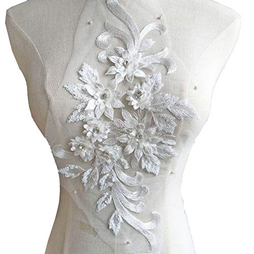 Exquisite 3D Flower Applique,Beaded,Sequined,Floral Patches Wedding Lace Appliques Motif Sew on Dress Gown 9 Colors Option (Off White) ()