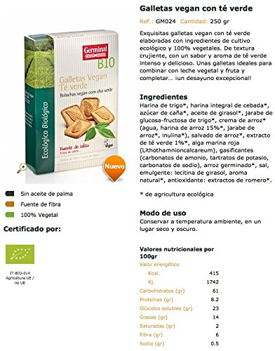 Germinal, Galleta de chocolate (Te verde) - 250 gr.: Amazon.es: Alimentación y bebidas