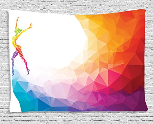Colored Tapestry (Sports Decor Tapestry by Ambesonne, Gymnastics Girl Body Gymnast Portrait Colored Geometric Digital Shapes Modern Olympics Decor, Wall Hanging for Bedroom Living Room Dorm, 80 W X 60 L, Multicolor)