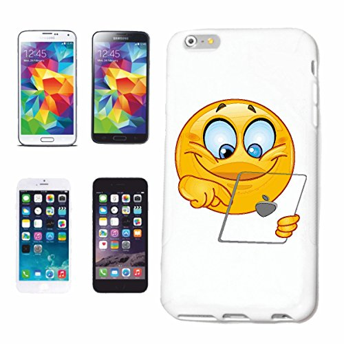 "cas de téléphone iPhone 5C ""SMILEY ON TABLETTE ""sourire EMOTICON sa SMILEYS SMILIES ANDROID IPHONE EMOTICONS IOS APP"" Hard Case Cover Téléphone Covers Smart Cover pour Apple iPhone en blanc"