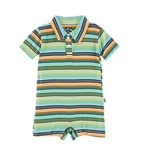 Kickee Pants Cancun Print Polo Romper - Cancun Glass Stripe, 6-12 Months