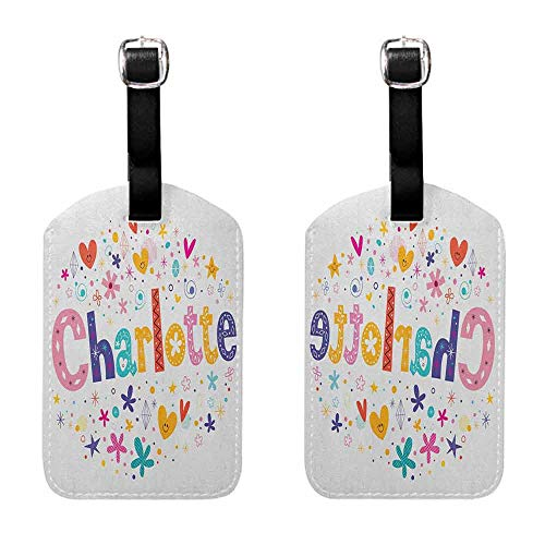 - Luggage ID Tag Charlotte,Happy Smiling Stars and Hearts Joyous Composition of Colorful Female Name Design, Multicolor Travel Identifier