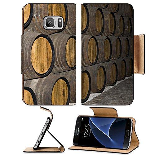 Luxlady Premium Samsung Galaxy S7 Flip Pu Leather Wallet Case IMAGE ID 586612 rows of tuns in wine cellar (Hogshead Wall)