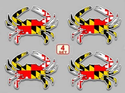 Maryland flag blue crab decal set of 4 size 3x 4 vinyl sticker