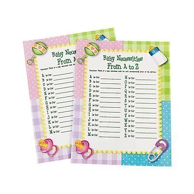 """""""Baby Necessities From A To Z"""" Baby Shower Game by adventure's bag -"""