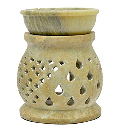 Lámpara aromática 13cm pirámide de gotas rejilla piedra de jabón decoración