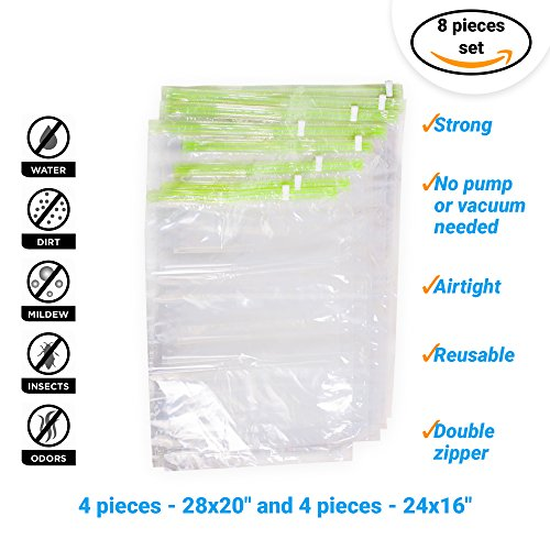 "8 Travel Storage Bags for Clothes - No Vacuum or Pump Needed -Reusable Space Saver Packing Sacks (4 items - 28x20"", 4 items - 24x16"") - Rolling Compression for Luggage"