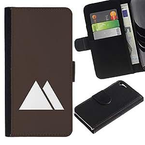 All Phone Most Case / Oferta Especial Cáscara Funda de cuero Monedero Cubierta de proteccion Caso / Wallet Case for Apple Iphone 5 / 5S // Pyramids Egypt Minimalist Brown