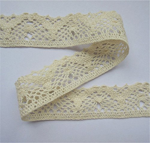 Cluny Lace Fabric - 10 Yard Cotton Crochet Cluny Lace Edge Trim Ribbon 3 cm Width Vintage Style Ivory Cream Edging Trimmings Fabric Embroidered Applique Sewing Craft Wedding Dress DIY Cards Hats Clothes Embellishment
