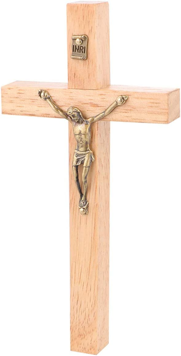 Schwarz Wakauto 1Pcs Soild Holzkreuz Zinklegierung Jesus Katholisches Kreuz Kirche Ornamente Dekorationen
