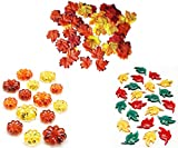 Fall Harvest Table Scatter Vase Filler Mini Pumpkin Leaves Decorations (Gems & Leaves 3 Pack)